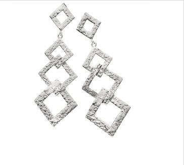 Square Link Drop Silver Earrings $20