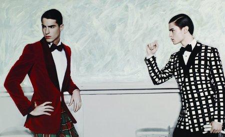 Left: Antonio wears suit Tom Ford, Shirt Brioni, Bow tie Dolce & Gabbana, Right: Baptiste wears suit and shirt Dolce & Gabbana, Bow tie Thomas Pink, Gloves LaCrasia.