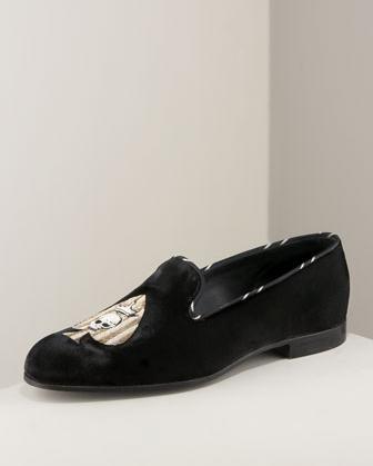 Barker Black Skull & Spade Velvet Loafer $825