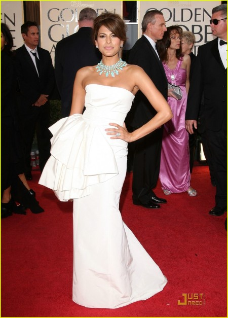 White Silk Dior Gown with Taffeta Bustier and a Vintage Van Cleef & Arpels Turqouise Necklace