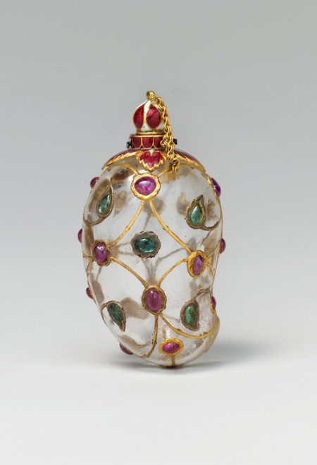 Mango-shaped rock crystal Flask India, Mughal, mid-17th century Rock crystal; set with gold, enamel, rubies, and emeralds