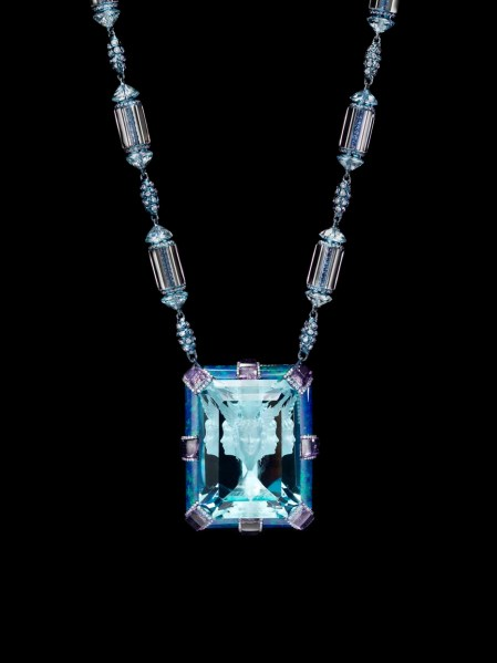 "The ""Now and Always"" necklace featuring a signature 35.4ct Wallace Cut aquamarine with the image of Horae the Greek Goddess of nature, with amethysts, diamonds, blue topaz, sapphires and opals."