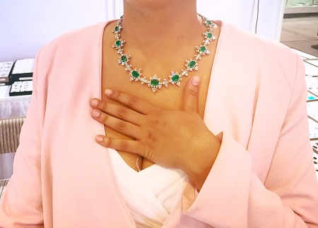 This young girl looked amazing in this diamond and emerald necklace, I had to take a picture.
